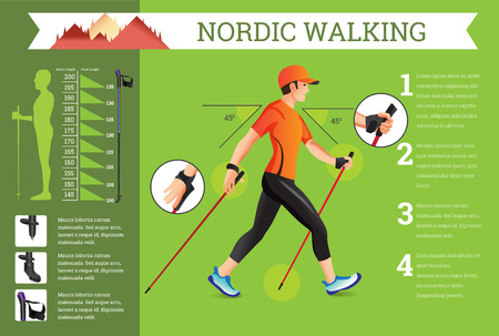 Vector illustrated infographics set with Nordic Walking data. The flat illustration of sport activities for health lifestyle.