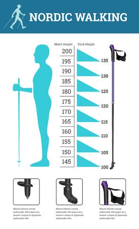 Vector geïllustreerde infographics die met Nordic Walking-gegevens wordt geplaatst. De vlakke illustratie van de regels voor de selectie van de lengte van de nordic walking-stokken. Stockfoto - 72168366