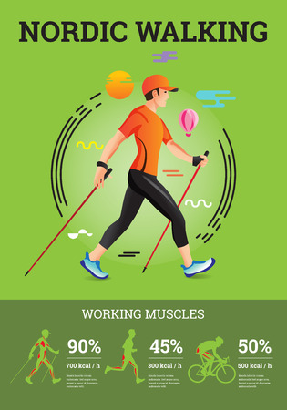 Vector illustrated infographics poster for Nordic Walking. The flat illustration of sport hiking man. Illustration