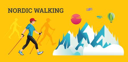 Vector illustratie banner met Nordic Walking. De platte illustratie van sportwandelende mannen. Vector Illustratie