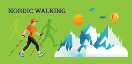 Vector illustratie banner met Nordic Walking. De platte illustratie van sportwandelende mannen.