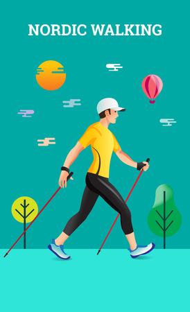 Vector illustratie poster met Nordic Walking. De platte illustratie van sportwandelaar. Stock Illustratie