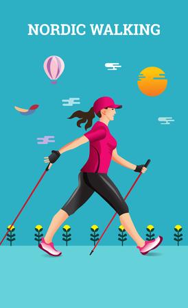 Vector illustratie poster met Nordic Walking. De vlakke illustratie van sport wandelende vrouw.