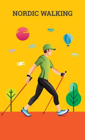 Vector illustratie poster met Nordic Walking. De platte illustratie van sportwandelaar.