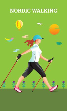 ノルディック ・ ウォーキングとベクトル イラスト ポスター。スポーツ ハイキング女性のフラットの図。
