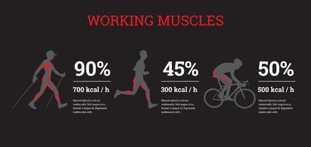 Vector geïllustreerde infographicsbanners met sportinformatie. De vlakke illustratie van vergelijkende gegevens van sportbelastingen. Stockfoto - 72168405