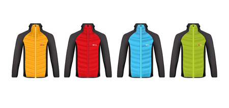 Vector illustration of winter sports jacket. Realistic illustration of suit for winter sports