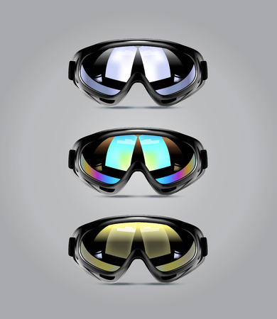 Vector illustration of winter ski goggles for men. Realistic illustration of sport glasses. Illustration