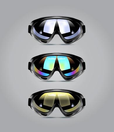 ski walking: Vector illustration of winter ski goggles for men. Realistic illustration of sport glasses. Illustration