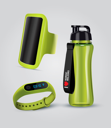 Vector illustration of sport accessories. Realistic illustration of sport holder for smartphone, fitness Smart Watch and water bottle.