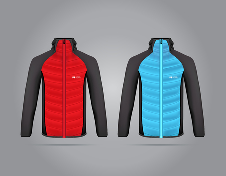 Vector illustration of winter sports jacket. Realistic illustration of suit for winter sports