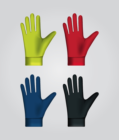 Vector illustration of winter sport gloves. Realistic illustration of sport accessories.
