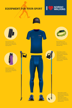 sport man: Vector illustration of set with Nordic Walking equipment. Realistic illustration of summer sport accessories and clothes for men.