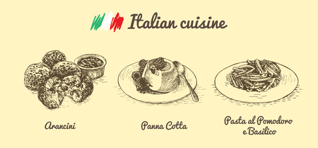 Italian menu monochrome illustration. Vector illustration of Italian cuisine. Иллюстрация