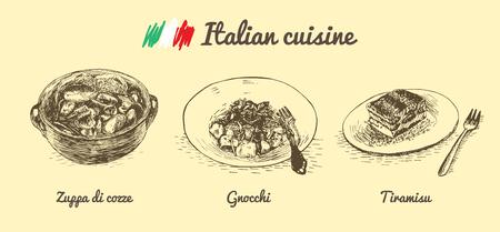 Italian menu monochrome illustration. Vector illustration of Italian cuisine. Illustration