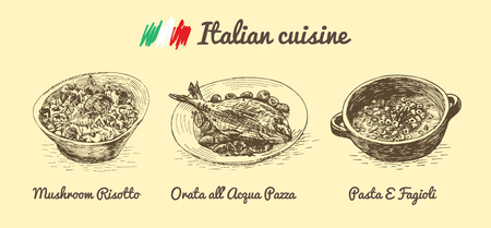 Italian menu monochrome illustration. Vector illustration of Italian cuisine. Ilustração