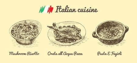 bream: Italian menu monochrome illustration. Vector illustration of Italian cuisine. Illustration