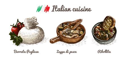 kale: Italian menu colorful illustration. Vector illustration of Italian cuisine.