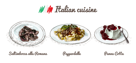vanilla pudding: Italian menu colorful illustration. Vector illustration of Italian cuisine.