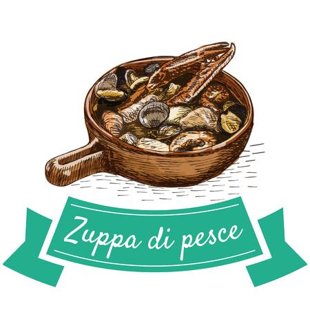 Zuppa di Pesce colorful illustration. Vector illustration of Italian cuisine. Illustration