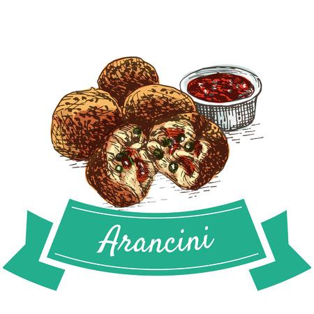 Arancini colorful illustration. Vector illustration of Italian cuisine.