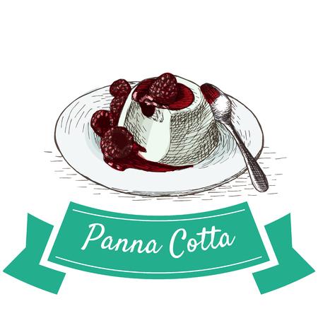 Panna Cotta colorful illustration. Vector illustration of Italian cuisine.