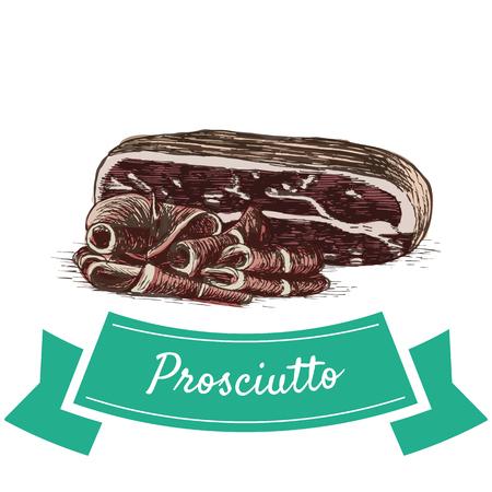 Prosciutto colorful illustration. Vector illustration of Italian cuisine. Иллюстрация