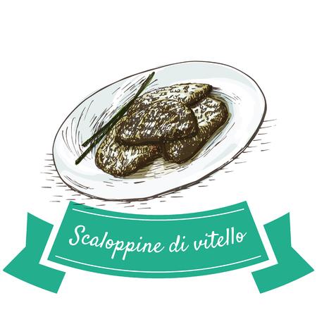 Scaloppine di vitello colorful illustration. Vector illustration of Italian cuisine. Illustration