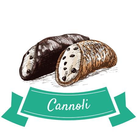 Cannoli colorful illustration. Vector illustration of Italian cuisine.