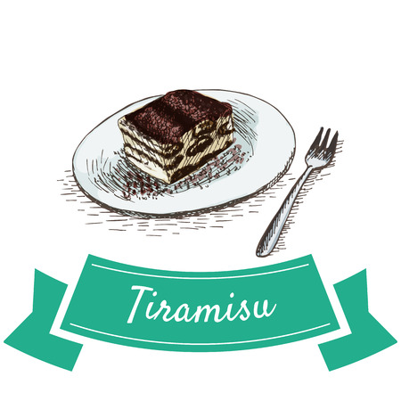 Tiramisu colorful illustration. Vector illustration of Italian cuisine.