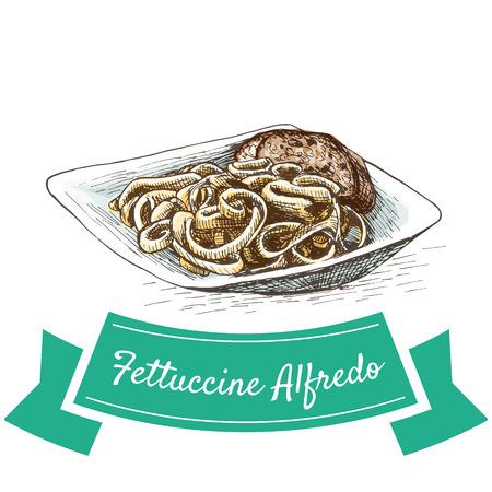 Fettuccine Alfredo colorful illustration. Vector illustration of Italian cuisine.
