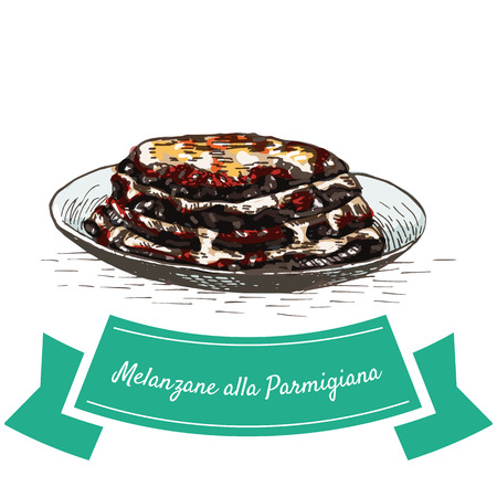 grated cheese: Melanzane alla Parmigiana colorful illustration. Vector illustration of Italian cuisine.