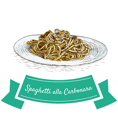 Spaghetti alla Carbonara colorful illustration. Vector illustration of Italian cuisine.