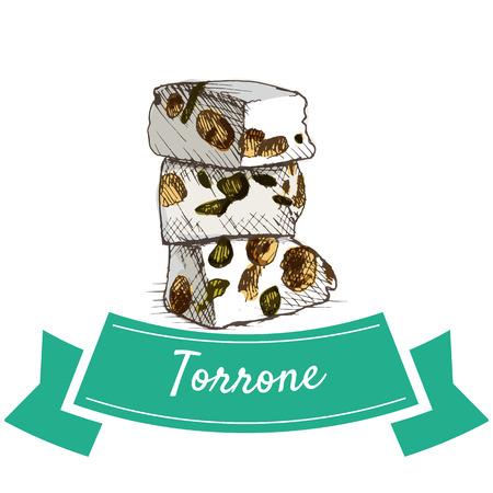 Torrone kleurrijke illustratie. Vectorillustratie van de Italiaanse keuken.