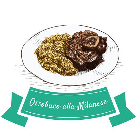 Ossobuco alla illustration colorée de Milanese. Illustration vectorielle de la cuisine italienne.