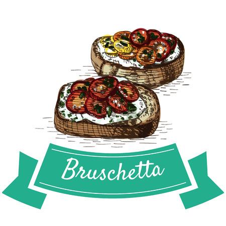 Bruschetta colorful illustration. Vector illustration of Italian cuisine.