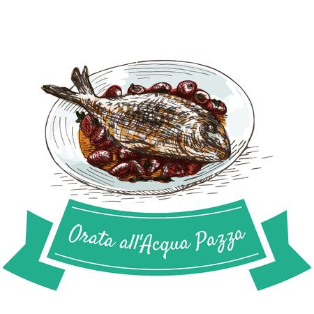 bream: Orata all Acqua Pazza colorful illustration. Vector illustration of Italian cuisine.