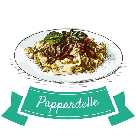 hams: Ilustración colorida Pappardelle. Ilustración de vector de cocina italiana. Vectores