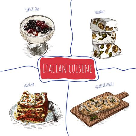 christmas cookie: Italian menu colorful illustration. Vector illustration of Italian cuisine.