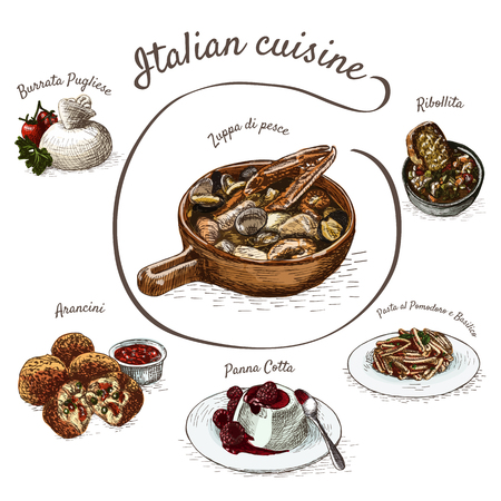 이탈리아어 메뉴 다채로운 그림. 이탈리아 요리의 벡터 일러스트 레이 션.