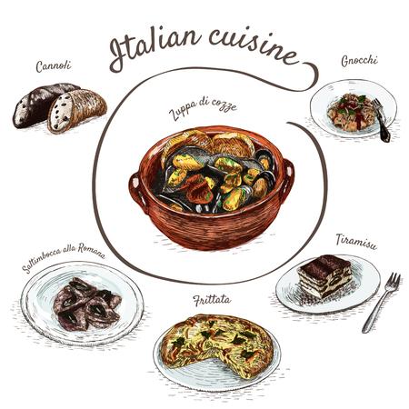 Italiaans menu kleurrijke illustratie. Vector illustratie van de Italiaanse keuken.