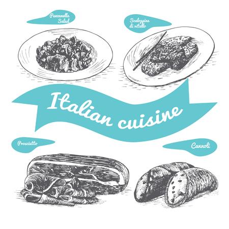 Monochrome vector illustratie van de Italiaanse tradities en gerechten.
