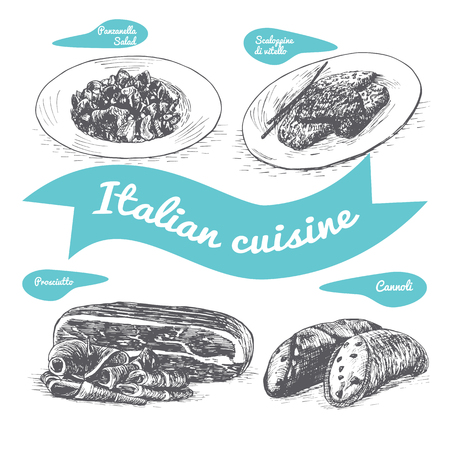 Monochrome vector illustration of Italian cuisine and cooking traditions. Фото со стока - 73941140