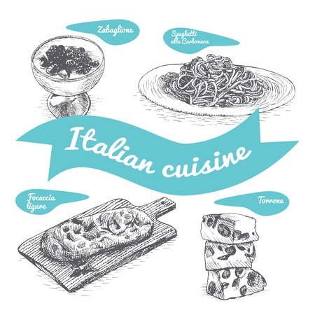 Monochrome vector illustration of Italian cuisine and cooking traditions. Фото со стока - 73858800
