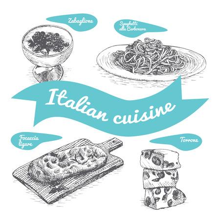 Zwart-wit vectorillustratie van de Italiaanse keuken en koken tradities.