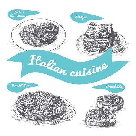 Monochrome vector illustratie van de Italiaanse tradities en gerechten. Vector Illustratie