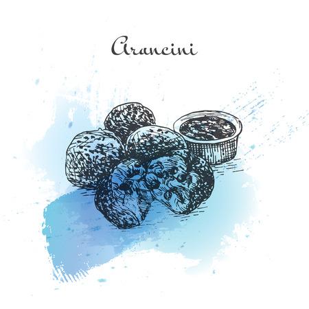 Arancini watercolor effect illustration. Vector illustration of Italian cuisine. Ilustração