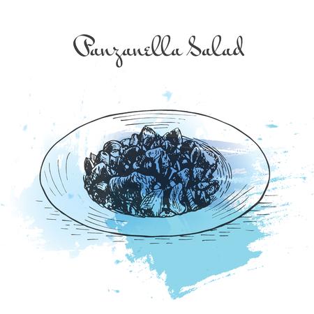 Panzanella Salad watercolor effect illustration. Vector illustration of Italian cuisine.