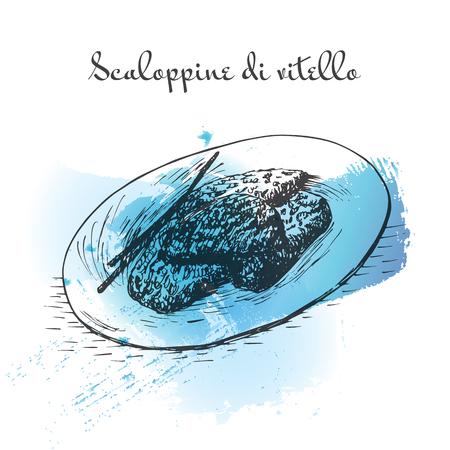 Scaloppine di vitello watercolor effect illustration. Vector illustration of Italian cuisine. Illustration
