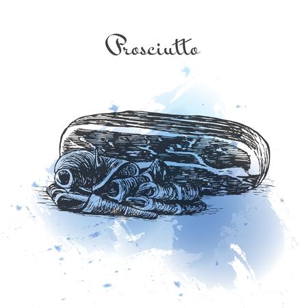 Prosciutto watercolor effect illustration. Vector illustration of Italian cuisine.